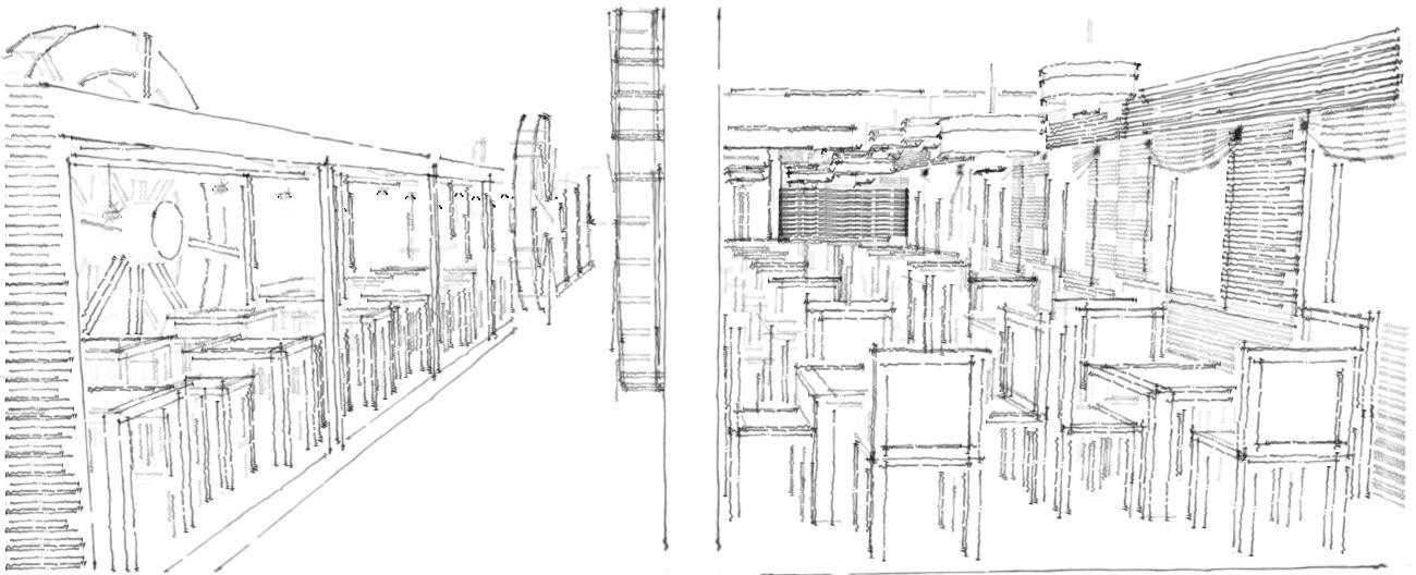 Schizzo di studio del padiglione