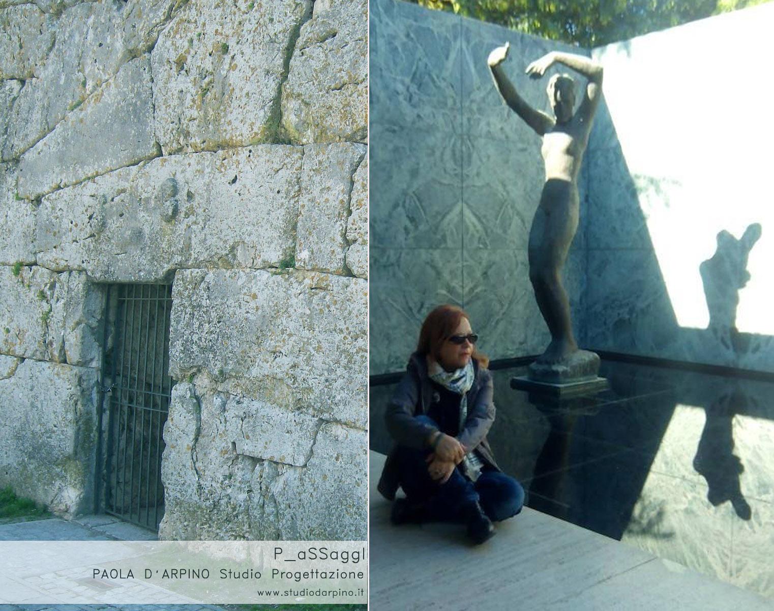 sin) cinta muraria IIIV sec. a.c. dx) arch Paola D'Arpino al padiglione di Mies V. D. Rohe
