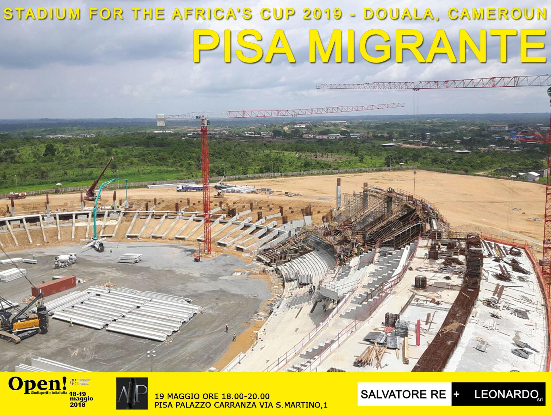 foto cantiere nuovo stadio di Douala, Cameroun