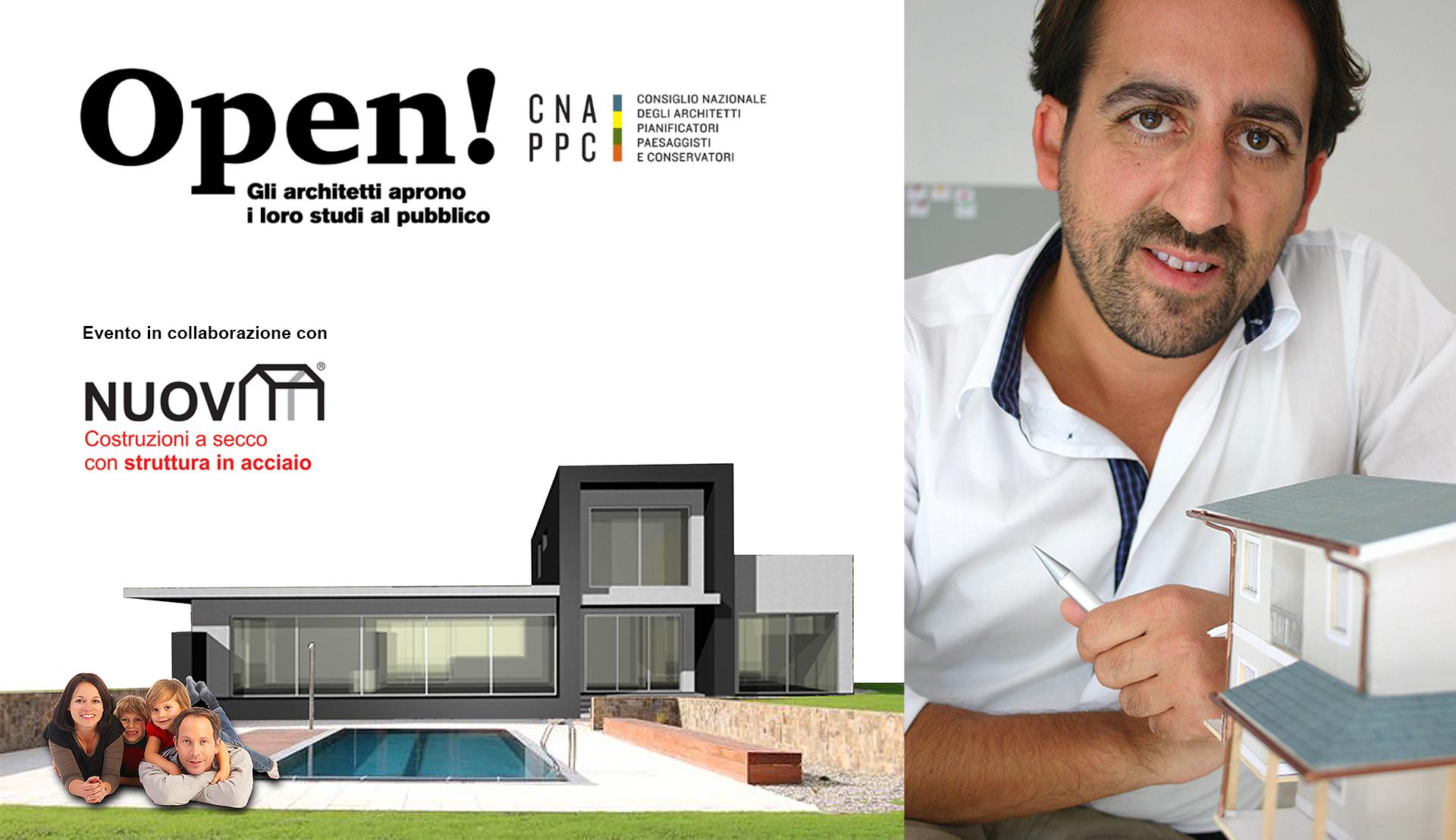 Foto dell'architetto Claudio D'Onofrio e di un progetto di villa in stile moderno