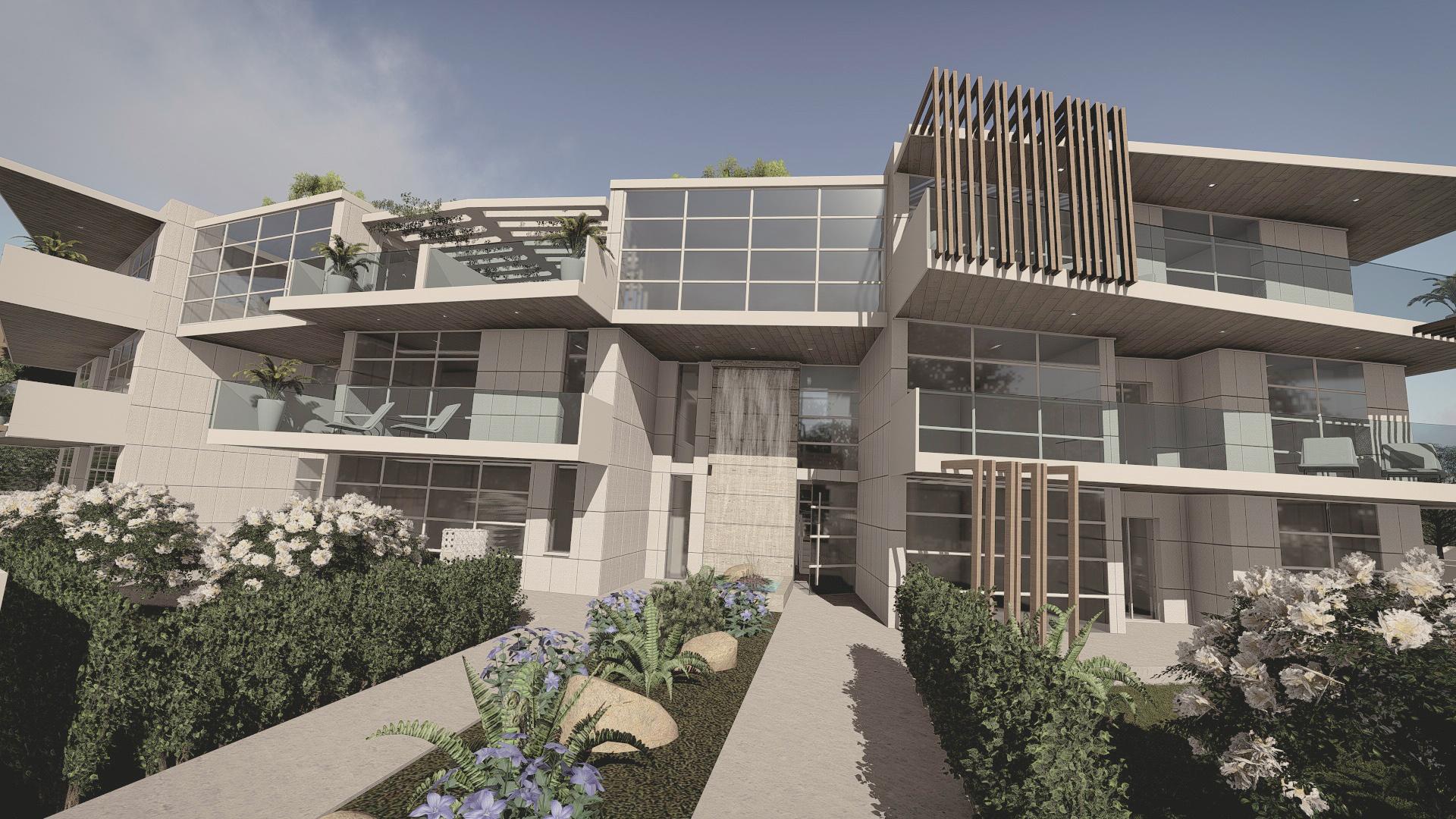 Render di complesso residenziale progettato dallo studio all'insegna della sostenibilità.