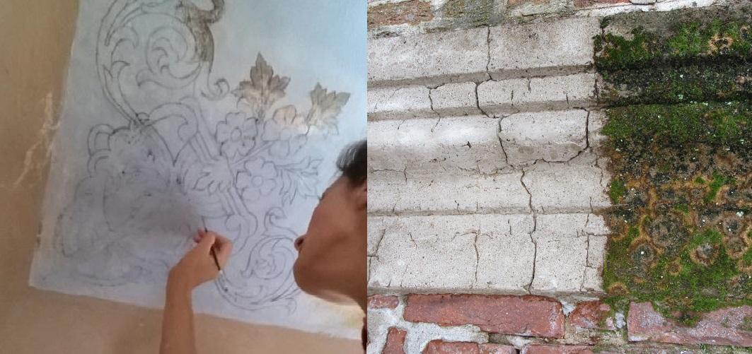 Fotografia di restauro pittorico e restauro architettonico.