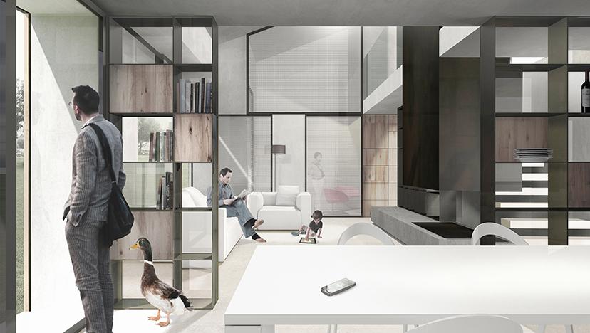 Render di un ambiente domestico con architetto e animale