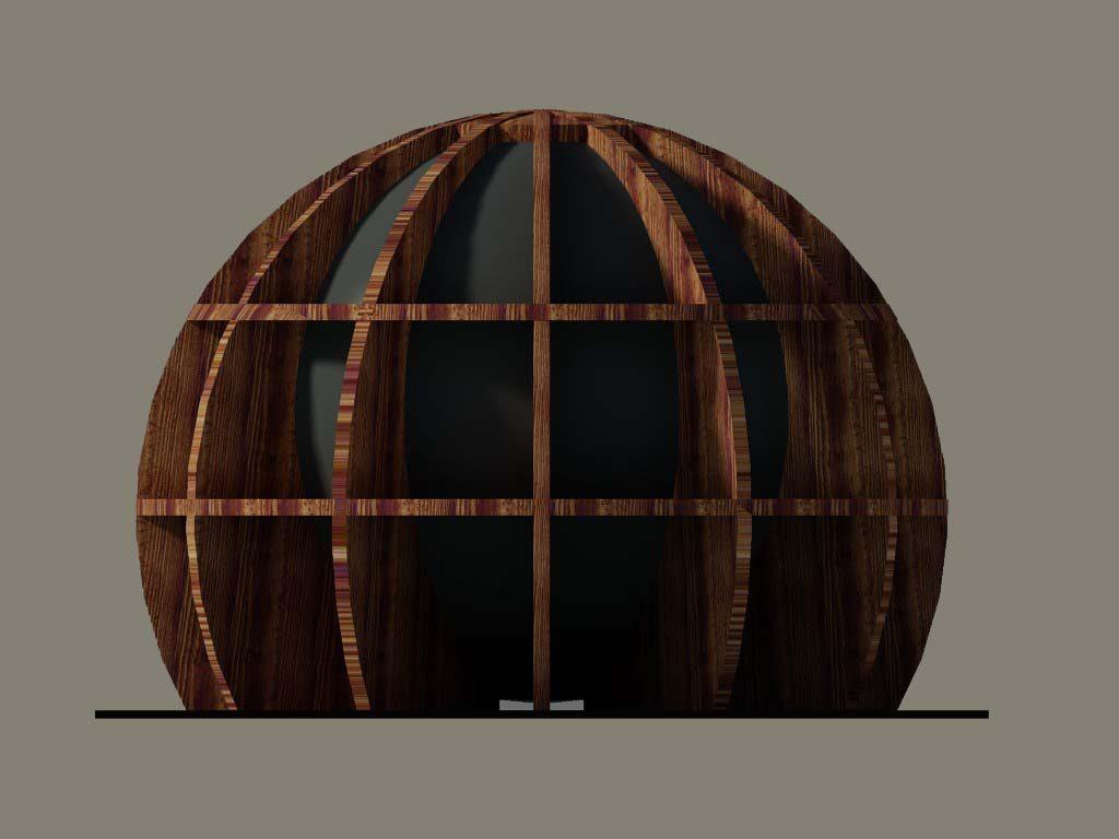ecosfera in legno e vetro.