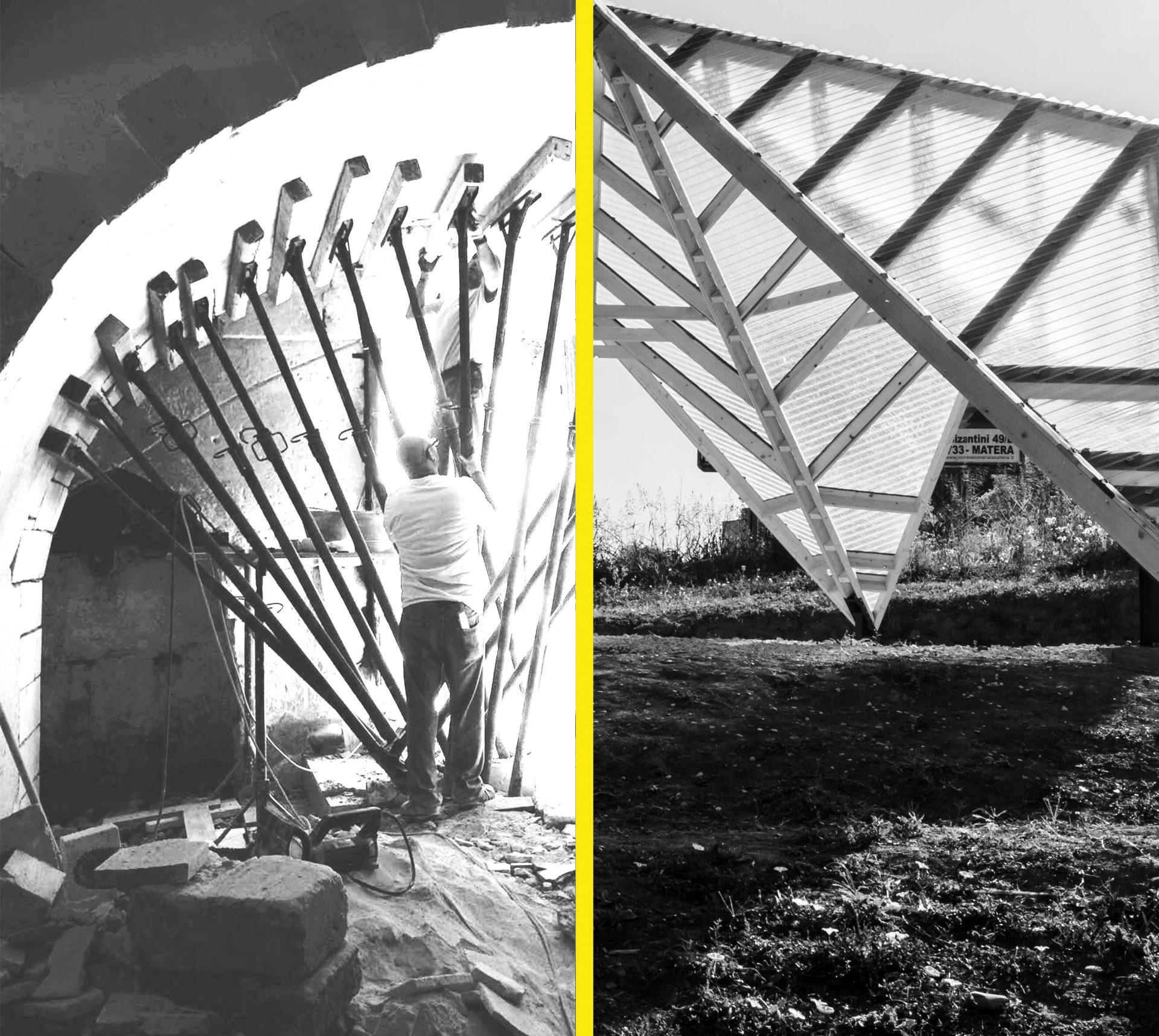 Due fotografie di progetti dello studio a confronto (interno ed esterno)