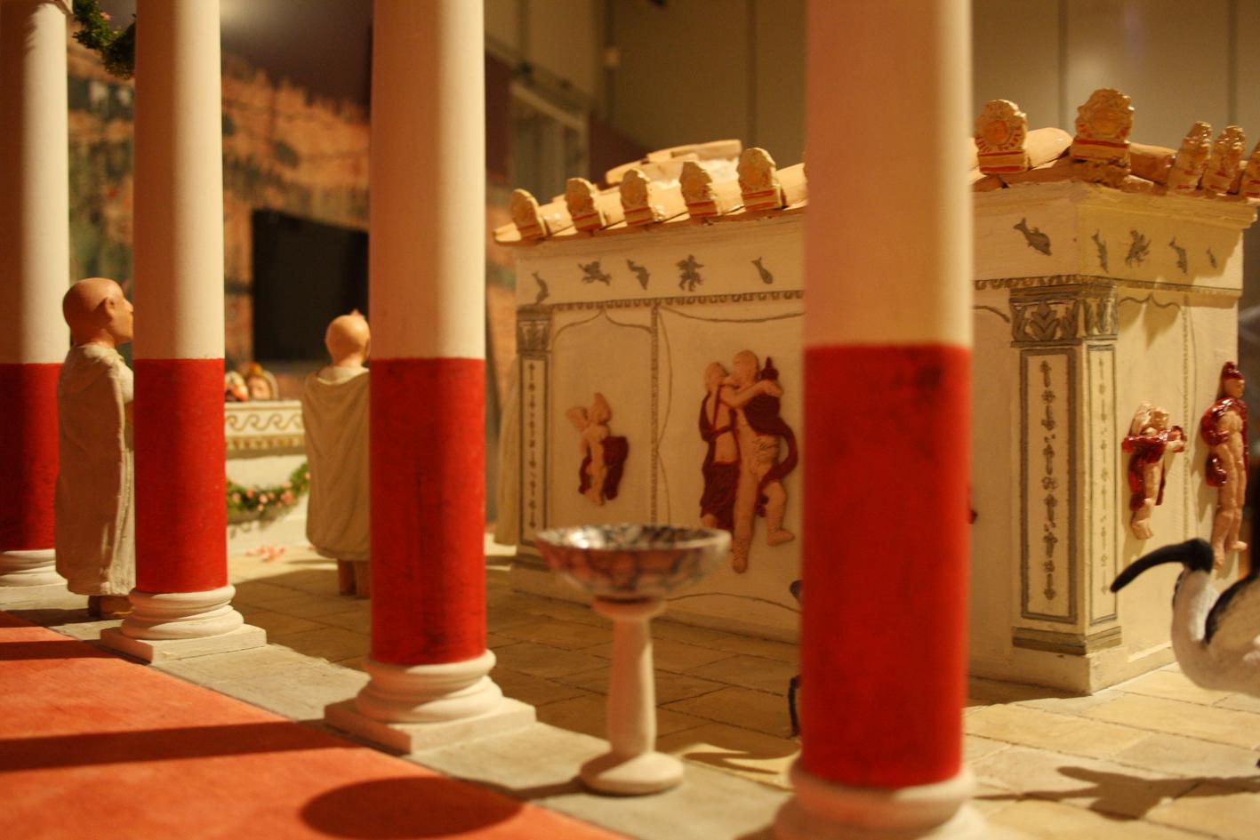 Plastico illustrativo del luogo di culto dedicato a Iside nel centro storico di Lecce