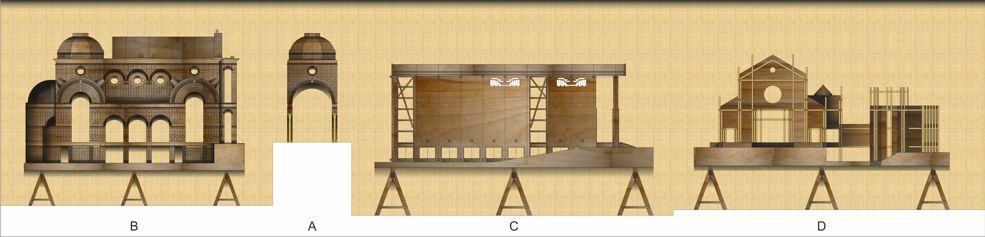 la bacheca dei modellini dell'Architetto