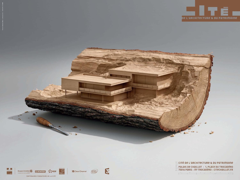 immagine di opera di architettura moderna razionalista intagliata nel legno
