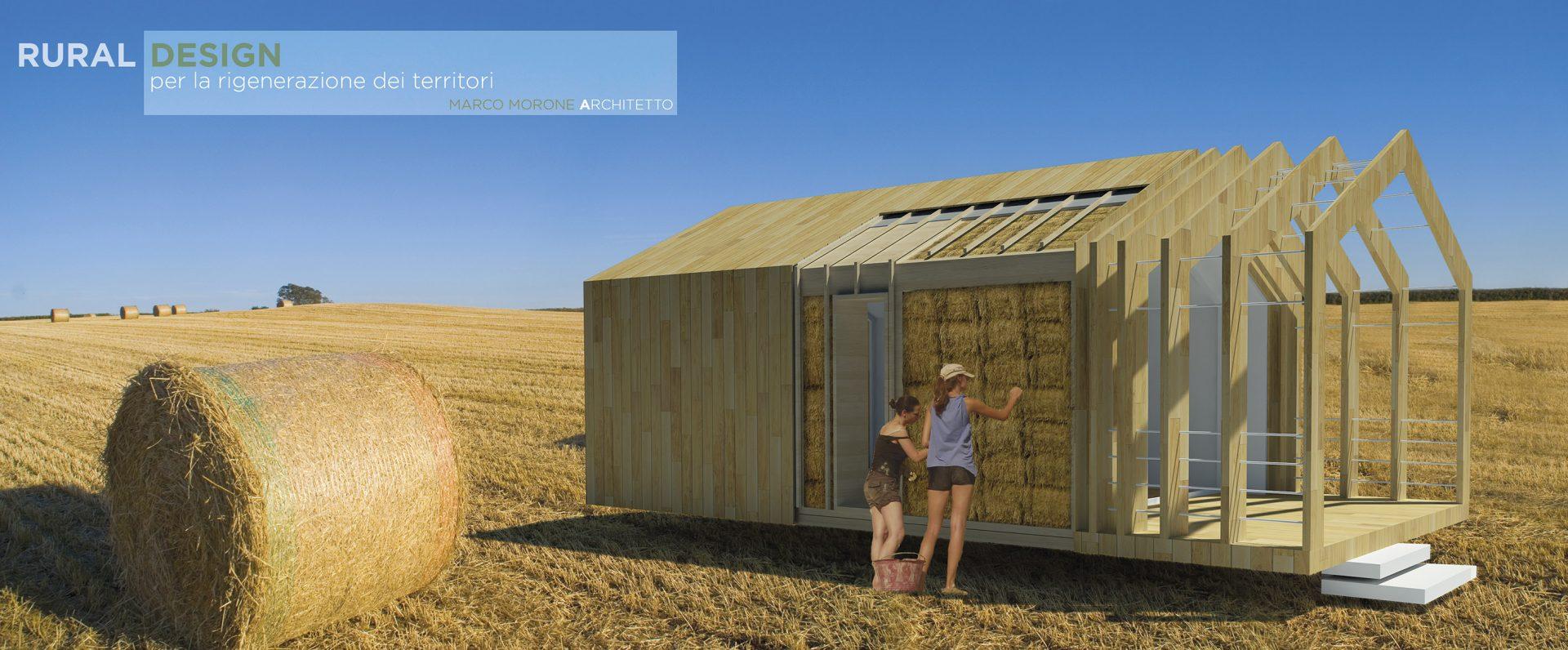 pototipo di edificio in legno e paglia