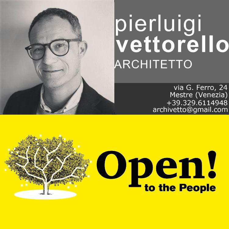 Fotografia dell'arch. Pierluigi Vettorello coi dati del suo studio
