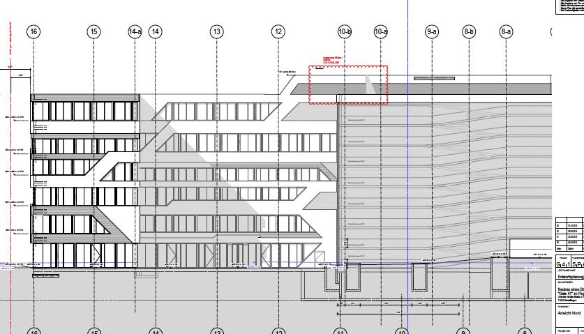 Sezione di un progetto per una palazzina uffici con parcheggio incorporato.