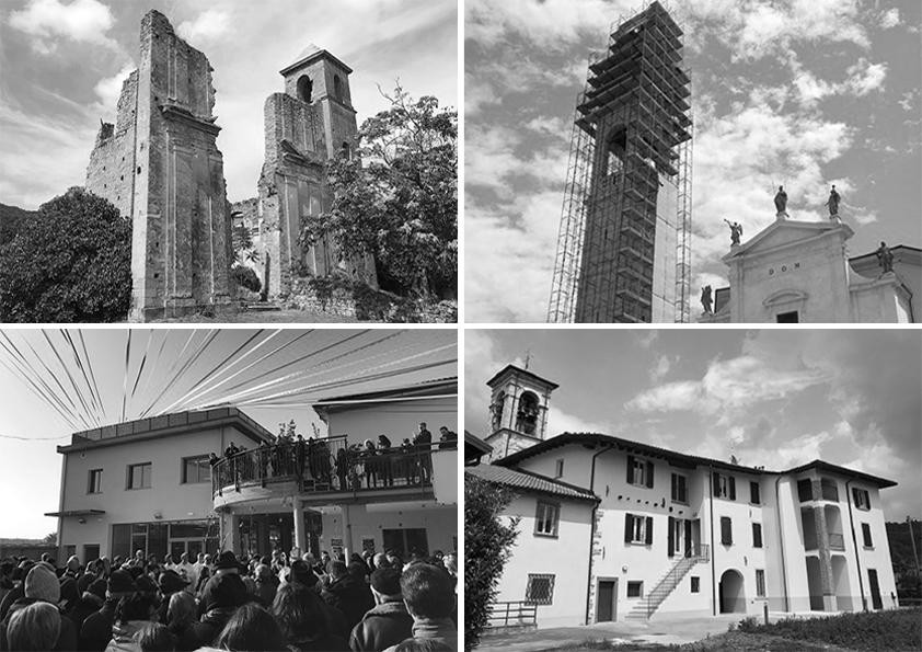 Fotografia di un campanile, di spazi di comunità e progetti
