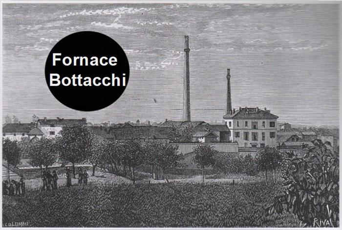 disegno in bianco e nero della fornace a inizio secolo