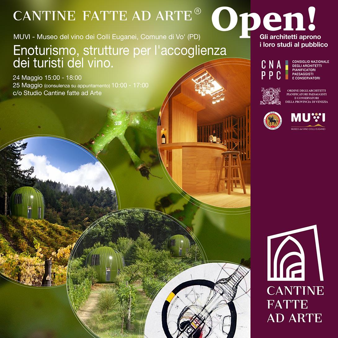 Immagini e render del progetto di una bottiglieria e alloggi per turisti del vino