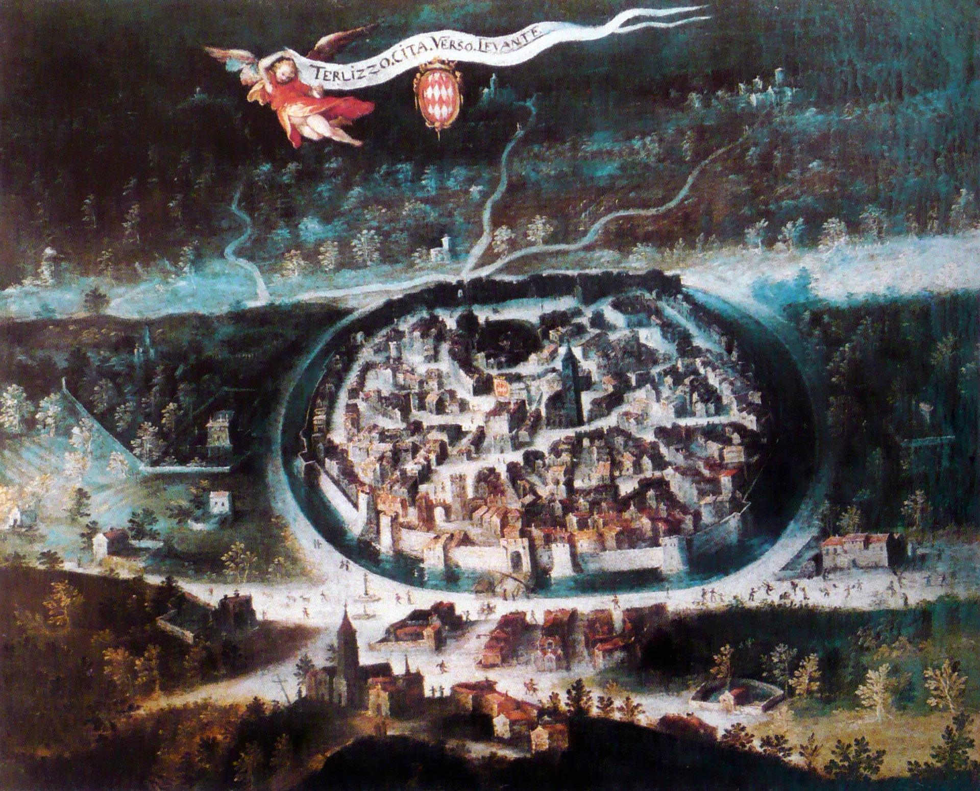 Vista a volo di uccello di Terlizzi, Olio su tela, 1604