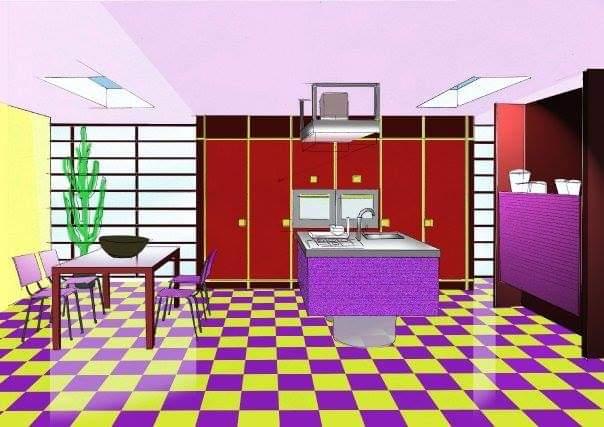 Progetto di una cucina per giovane coppia