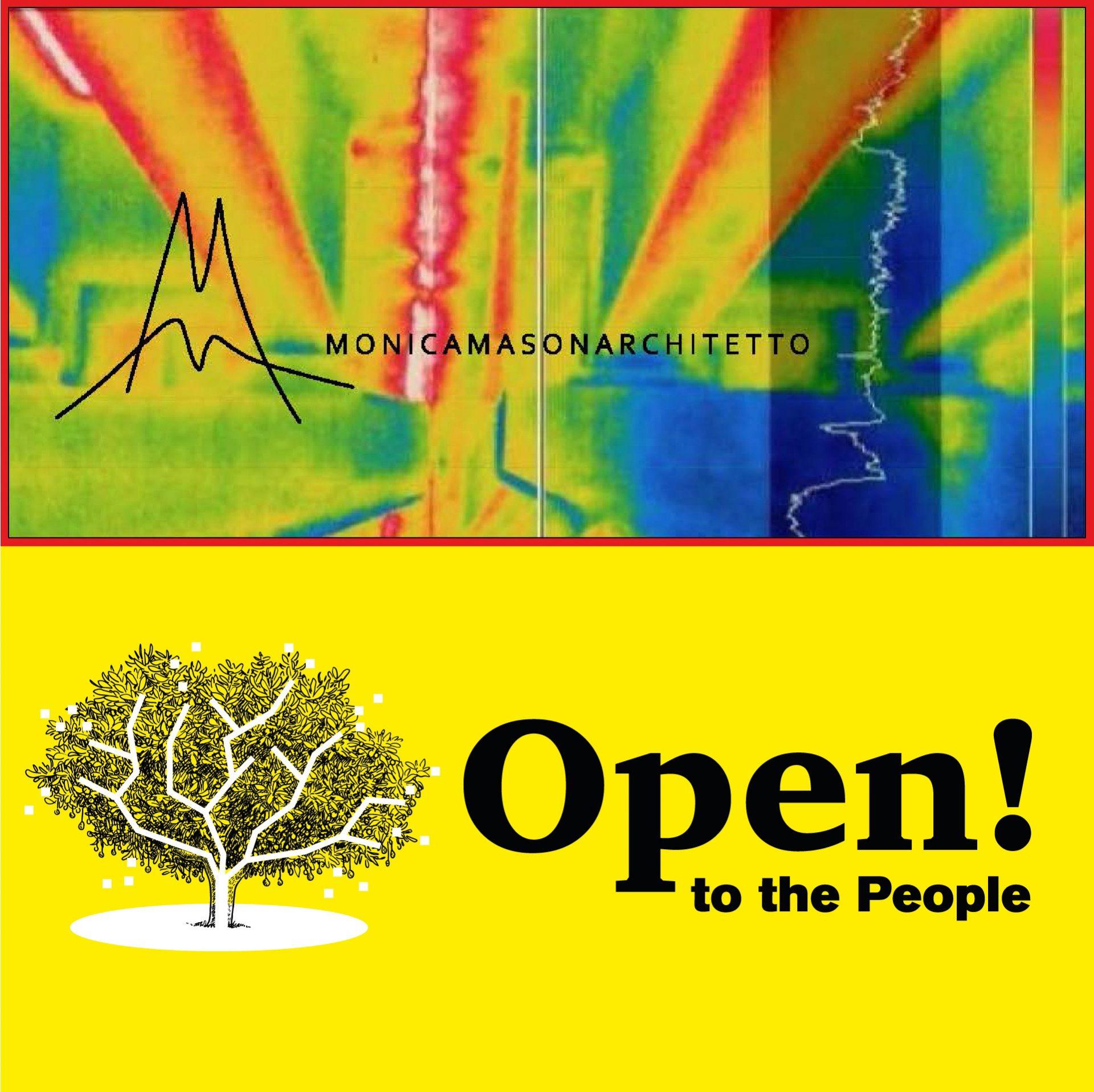 Immagine acquisita con termocamera con logo dello studio e logo dell'evento collettivo.