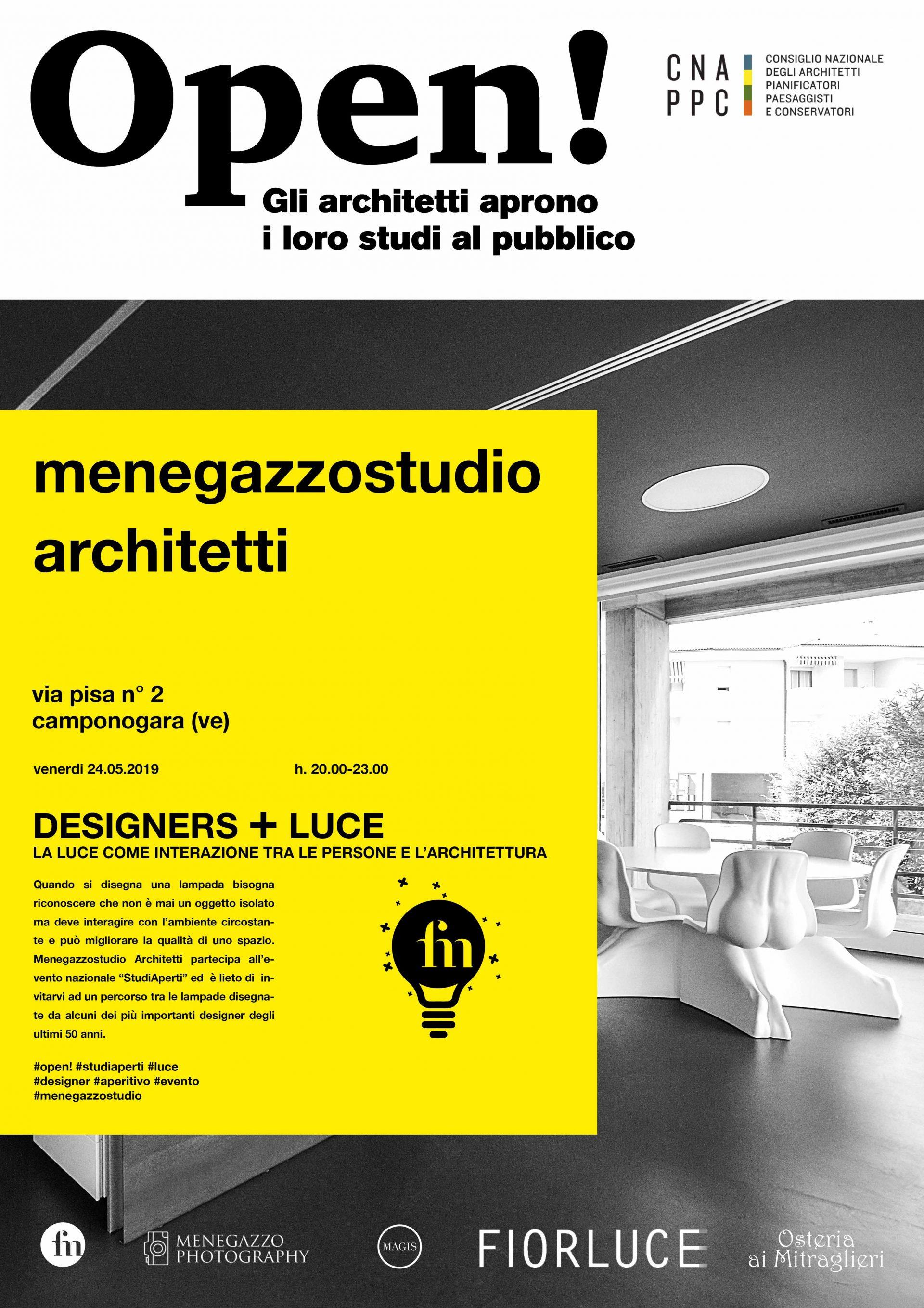 Fotografia di uno studio di architettura e locandina evento
