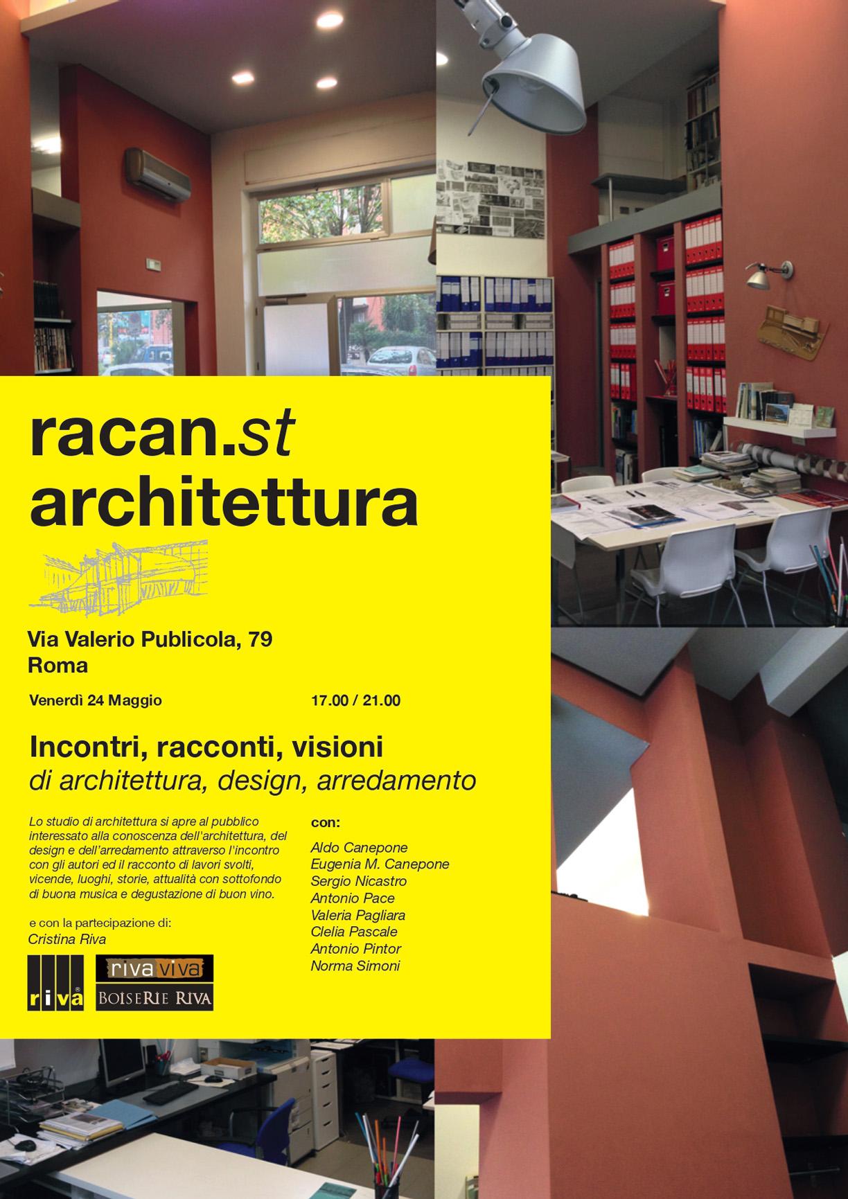 Locandina dell'evento Studi Aperti 2019 con immagini dello studio racan.st architettura