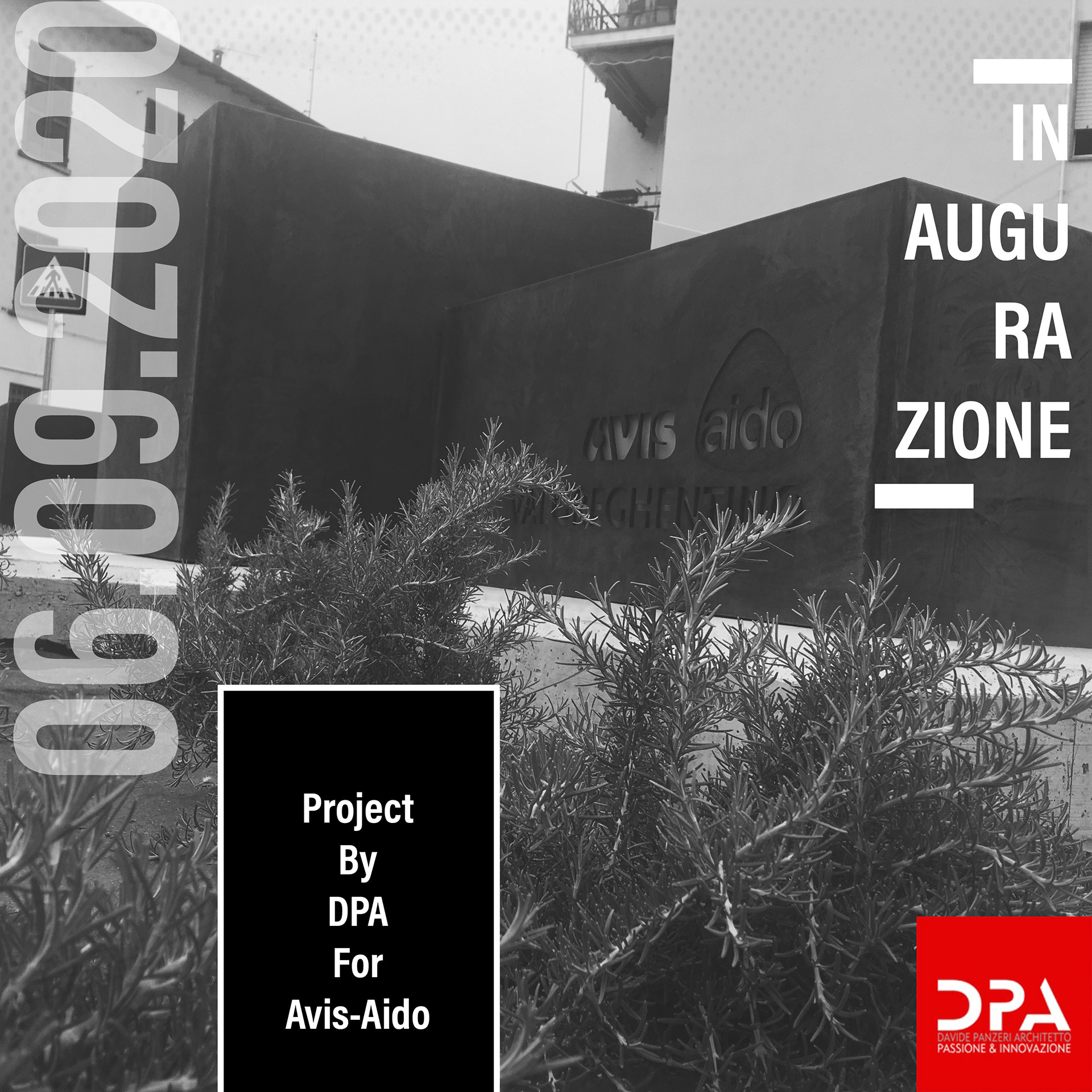 Manifesto dell'inaugurazione del monumento Avis-Aido 2020 progettato dallo studio DPA