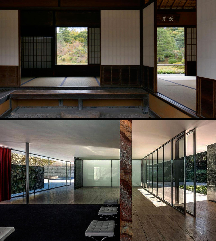 Fotografia del padiglione di Barcellona di Mies van der Rohe e immagine di casa giapponese